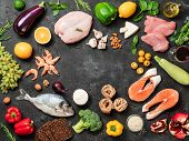 Mediterranean Diet Concept With Copy Space In Center. Top View Of Selective Food Ingredients Of Medi poster