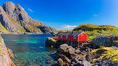 Red Fishing hut in Lofoten islands poster