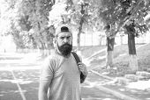 Bearded And Brutal. Bearded Man On Urban Background. Serious Bearded Hipster In Casual Style On Summ poster