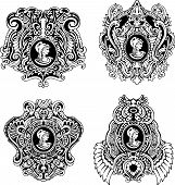 foto of cameos  - Set of decorative antique cameos with woman portrait in profile - JPG