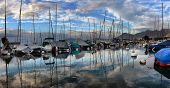 Swiss, Lake Geneva, 21, October, 2017,yachts On Autumn Parking Lot On Lake Geneva, Swiss, Lake Genev poster