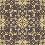 Classic Seamless Pattern. Damask Orient Golden Ornament. Classic Vintage Background. Orient Ornament poster