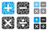 Calculator Mosaic Of Humpy Items In Various Sizes And Color Tinges, Based On Calculator Icon. Vector poster