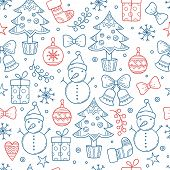 Christmas Pattern. Winter Season Graphic Snowflakes Clothes Gifts Stars Candles Trees Snowman Mitten poster