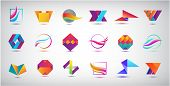 Vector Set Of Abstract Web Logos, Business Icons Set Isolated. Vector Illustration. Geometric, Origa poster