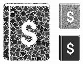 Dollar Book Mosaic Of Bumpy Pieces In Different Sizes And Color Tinges, Based On Dollar Book Icon. V poster