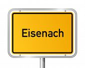 City limit sign EISENACH against white background - Thuringia, Th�?�¼ringen, Germany