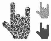 Rock Gesture Mosaic Of Tuberous Pieces In Various Sizes And Color Tones, Based On Rock Gesture Icon. poster