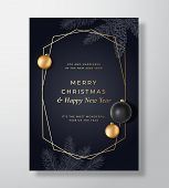 Christmas Abstract Vector Greeting Card, Poster Or Holiday Background. Classy Black And Gold Colors  poster