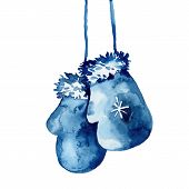 Watercolor Hand Painted Mitten Illustration In Blue Color. Wool Glove For Winter Season. New Year Ce poster
