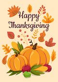 Happy Thanksgiving Flat Illustration With Calligraphic Inscription poster