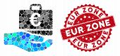 Collage Euro Accounting Hand And Grunge Stamp Seal With Eur Zone Phrase. Mosaic Vector Is Created Wi poster