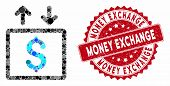 Mosaic Money Elevator And Grunge Stamp Seal With Money Exchange Caption. Mosaic Vector Is Formed Fro poster