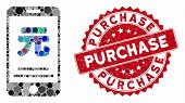 Mosaic Yuan Mobile Payment And Corroded Stamp Seal With Purchase Caption. Mosaic Vector Is Designed  poster
