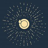 Beige Washing Dishes Icon Isolated On Dark Blue Background. Plate And Sponge. Cleaning Dishes Icon.  poster