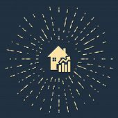 Beige Rising Cost Of Housing Icon Isolated On Dark Blue Background. Rising Price Of Real Estate. Res poster