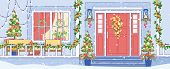 Cottage House Or Chalet Exterior Winter Holidays Decorations Flat Vector Background With Home Porch, poster