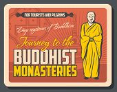 Buddhist Monasteries Retro Advertisement With Monk, Stupa And Swastika. Vector Buddhism Religion Sym poster