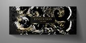 Luxurious Vip Invitation Template With Surreal Silver, Gold Abstract Texture On Black Background. Pr poster