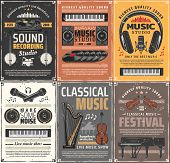 Music Instruments And Retro Sound Recording Studios. Vector Live Classical Music, Vinyl Disk And Ban poster