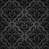 Classic Seamless Pattern. Damask Orient Ornament. Classic Vintage Dark Background. Orient Ornament F poster