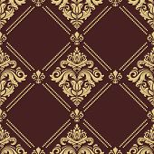 Classic Seamless Pattern. Damask Orient Ornament. Classic Vintage Background. Orient Brown And Golde poster