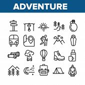Adventure Collection Elements Icons Set Vector Thin Line. Van And Air Balloon, Backpack And Shoe, Mo poster