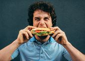 Close-up Portrait Of Young Handsome Man Eating A Cheeseburger. Happy Man In A Fast Food Restaurant E poster