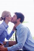 picture of office romance  - business people in love  have romantic time at workplace - JPG