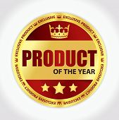stock photo of first class  - Badge with Product of the year title image of crown and three golden stars - JPG