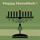 stock photo of hebrew  - Abstract colorful background with jewish menorah having nine candles and the text Happy Hanukkah written above the candle holder - JPG