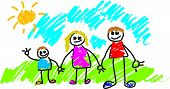 picture of school child  - kiddie style family drawing - JPG