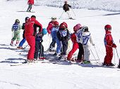 French Children Form Ski School Groups