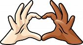 foto of coexist  - An illustration depicting two cartoon hands of different skin colors forming a heart - JPG