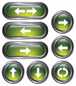picture of backspace  - A set of 8 shiny green arrow buttons with metallic borders - JPG