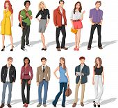 Group of fashion cartoon young people