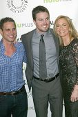 BEVERLY HILLS - MARCH 9: Greg Berlanti, Stephen Amell and Susanna Thompson arrive at the 2013 Paleyf