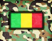 stock photo of ami  - Amy camouflage uniform with flag on it Mali - JPG
