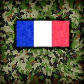 foto of ami  - Amy camouflage uniform with flag on it France - JPG