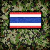 stock photo of ami  - Amy camouflage uniform with flag on it Thailand - JPG
