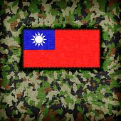 stock photo of ami  - Amy camouflage uniform with flag on it Republic of China - JPG