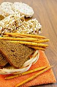 Rye bread and crispbreads in a wicker plate