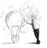 picture of draft  - Concept of businessman with a creative big idea - JPG