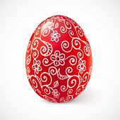 picture of pasqua  - Red ornate vector traditional Easter egg with white floral ornament - JPG