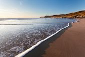 stock photo of devonshire  - Beautiful Combesgate Beach near Woolacombe Devon England UK - JPG