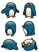 stock photo of blubber  - A  set of six cute cartoon penguins - JPG