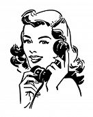 foto of receptionist  - Cute Gal On The Phone  - JPG