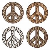 picture of ocelot  - Vector collection of four animal print peace symbols - JPG