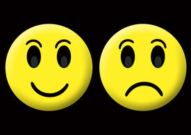 picture of smiley face  - happy and sad smiley at the black background - JPG