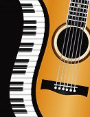 stock photo of grand piano  - Piano Keyboards Wavy Border with Acoustic Guitar Closeup Background Illustration - JPG